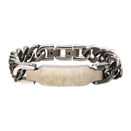 Matte Stainless Steel ID Chain Bracelet // Silver