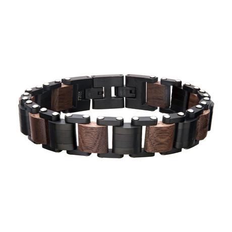 Stainless Steel + Walnut Wood Link Bracelet // Black + Brown