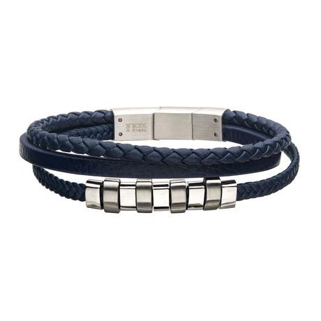 Leather + Steel Beads Bracelet // Blue