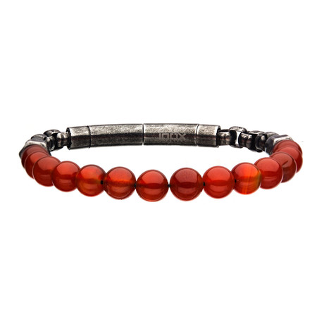 Agate Beads + Box Chain Bracelet // Red