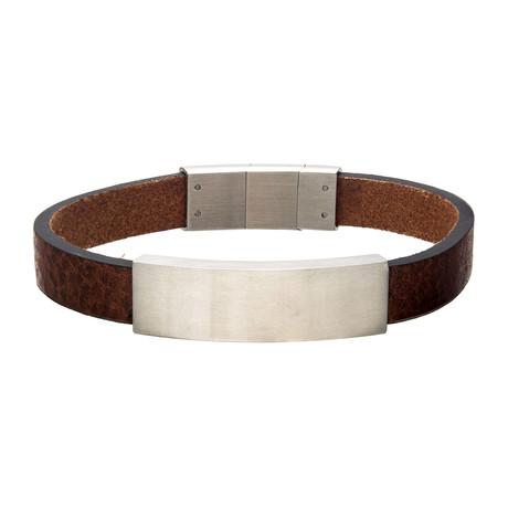 Leather + Stainless Steel ID Bracelet // Brown