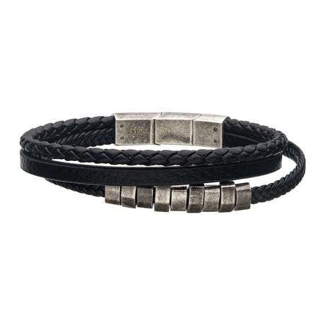 Leather + Antique Steel Beads Bracelet // Black