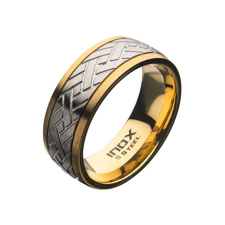 Steel Weave Ring // Gold Plated (Size 9)