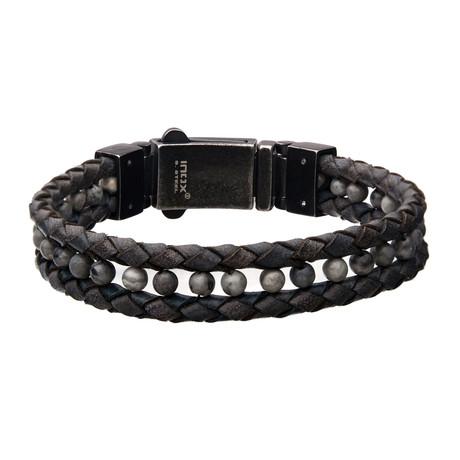 Braided Leather + Howlite Bead Bracelet // Gray