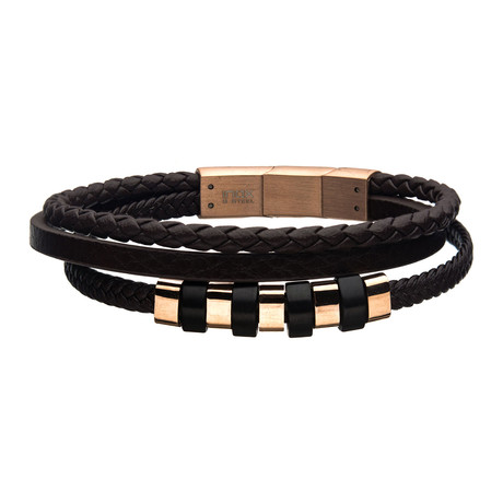 Leather + Steel Beads Bracelet // Brown + Rose Gold