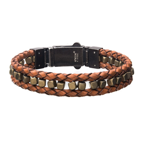 Braided Leather + Howlite Bead Bracelet // Brown + Gold