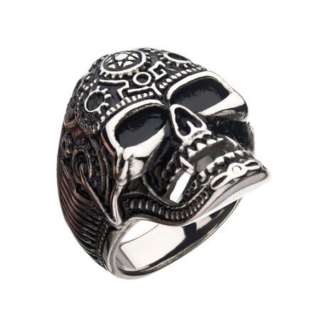 Oxidized Stainless Steel Vampire Skull Ring // Antique Gunmetal (Size 9)