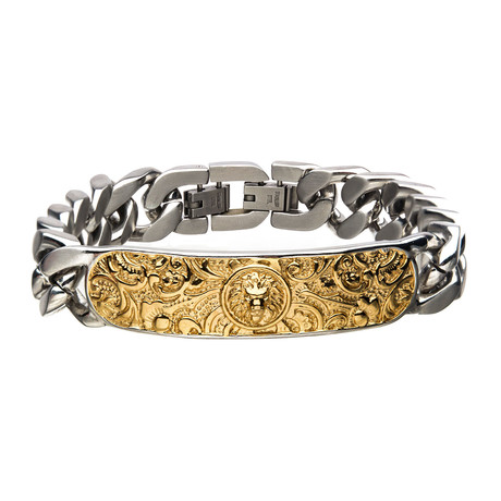 Steel Nymeria Lion ID Chain Bracelet // Gold Plated