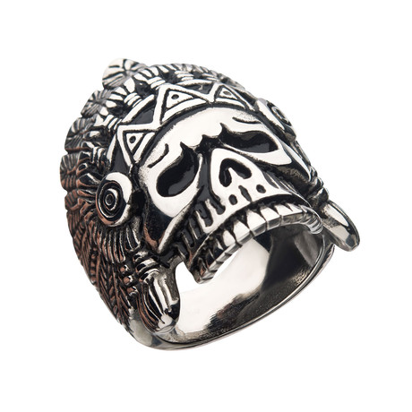 Oxidized Stainless Steel Chief Skull Ring // Antique Gunmetal (Size 9)