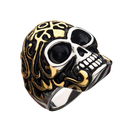 Oxidized Stainless Steel Skull Ring // Gold Plated (Size 9)