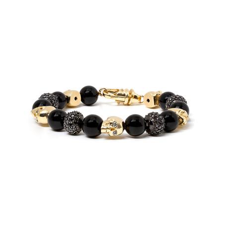 Skull Black Diamond Ball + Oynx Ball Bracelet // Yellow Gold