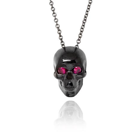 Black Diamond Ruby Eye Skull Pendant // Black Gold