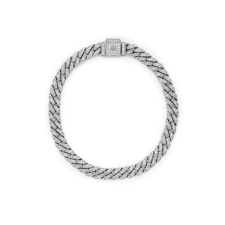 White Diamond Cuban Link Necklace // White Gold