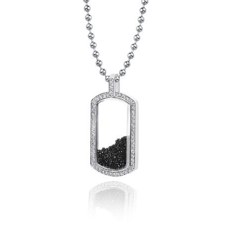 White Diamond + Black Diamond Floating Dog Tag Pendant // White Gold