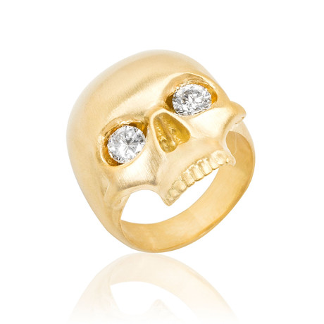 White Diamond Skull Ring // Yellow Gold (9)