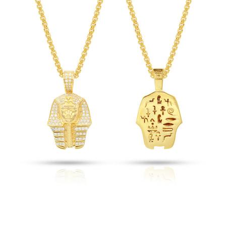 White Diamond Pharaoh Pendant // Yellow Gold