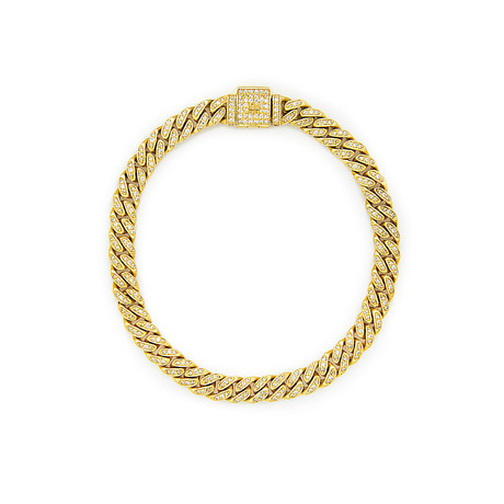 White Diamond Cuban Link Necklace // Yellow Gold