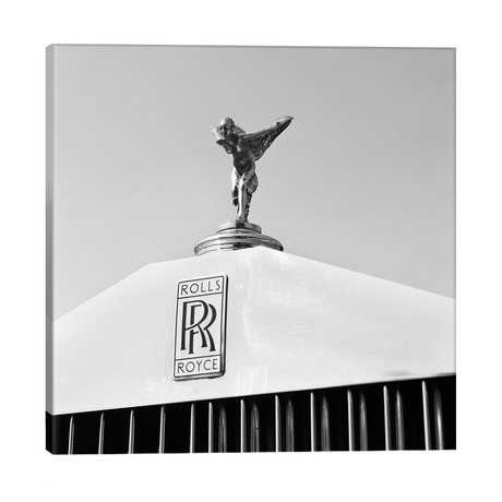 """1960s Close-Up Rolls Royce Hood Or Bonnet Ornament Spirit Of Ecstasy // Panoramic Images (26""""W x 26""""H x 1.5""""D)"""