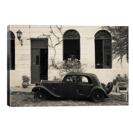 """Vintage car parked in front of a house, Calle De Portugal, Colonia Del Sacramento, Uruguay // Panoramic Images (40""""W x 26""""H x 1.5""""D)"""