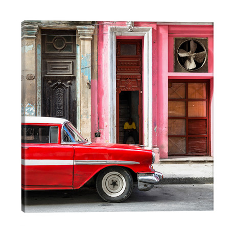 """Old Classic American Red Car // Philippe Hugonnard (26""""W x 26""""H x 1.5""""D)"""