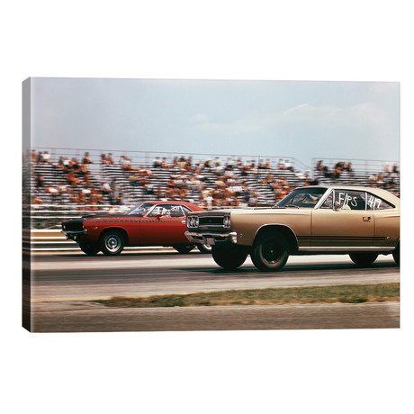 1970s 2 Cars Drag Racing Grandstand // Race Speed Competition Automotive Brownsville Indiana Raceway // Vintage Images