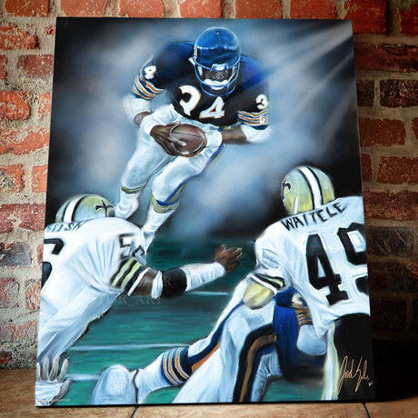 "Walter Payton // The Great Leap // Canvas (30""W x 24""H x 1.5""D // Limited Edition)"