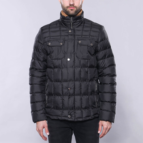 Slim-Fit Quilted Coat // Black (Euro: 44)