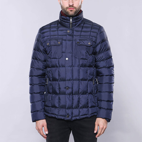 Slim-Fit Quilted Coat // Navy (Euro: 44)