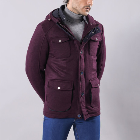 Slim-Fit Hooded Felt Coat // Purple (Euro: 44)