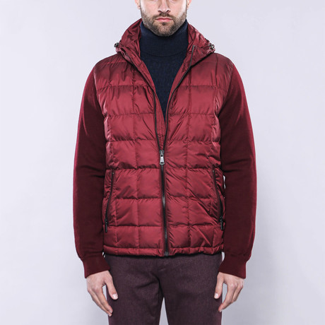 Hooded Slim-Fit Quilted Coat // Burgundy (Euro: 44)
