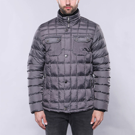 Slim-Fit Quilted Coat // Gray (Euro: 44)
