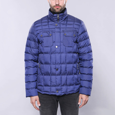 Slim-Fit Quilted Coat // Royal Blue (Euro: 44)