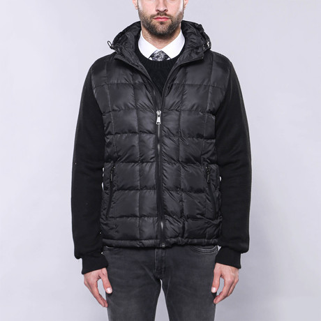 Hooded Slim-Fit Quilted Coat // Black (Euro: 44)