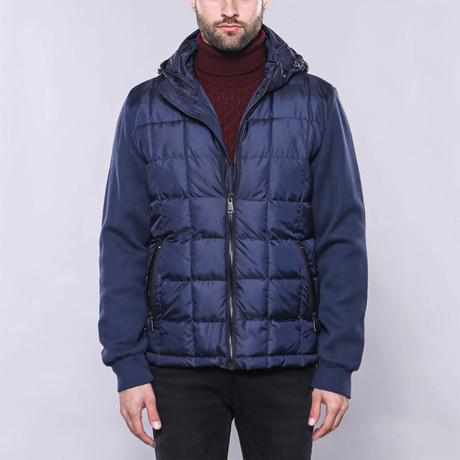 Hooded Slim-Fit Quilted Coat // Royal Blue (Euro: 44)