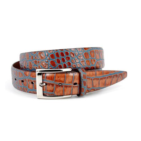 "Croc Belt // Blue Inlay (Size 30"")"