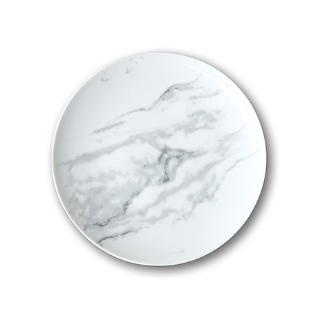 Culinaria Coupe // Warm Dinner Plate Set // Marble Gray (Set of 4)