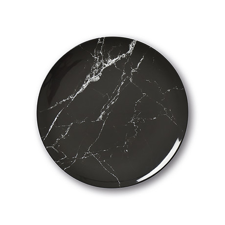 Culinaria Coupe // Warm Dinner Plate Set // Marble Black (Set of 4)