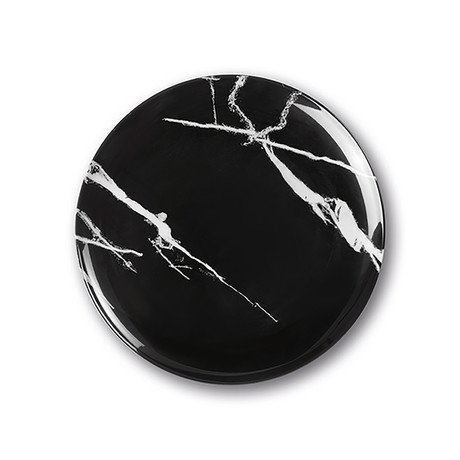 Calido Coupe // Warm Dinner Plate Set // Marble Black (Set of 4)
