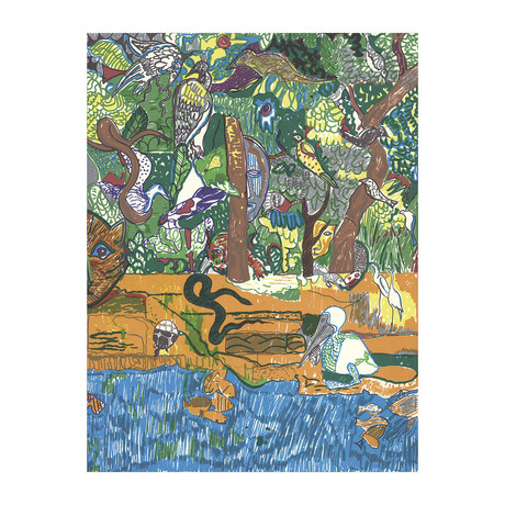Romare Bearden // Dreams of Exile (Great Snake) // 1981 Serigraph