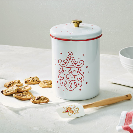 Noel Collection // Cookie Jar // White + Cerise