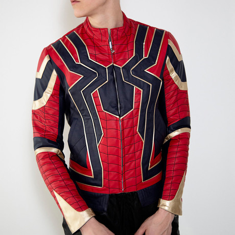 Iron Spider Limited Edition Leather Jacket // Red + Black + Gold (XS)