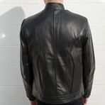 Batman Padded Motorcycle Leather Jacket // Black + Red Bat (XS)