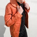 Skywalker Pilot Leather Jacket // Orange (XS)
