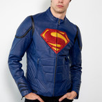 Superman Armor Leather Jacket // Blue (XS)