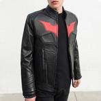 Batman Padded Motorcycle Leather Jacket // Black + Red Bat (M)
