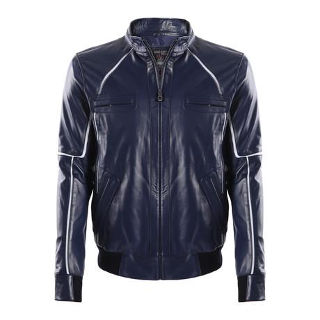 Tempe Leather Jacket // Dark Blue (XS)