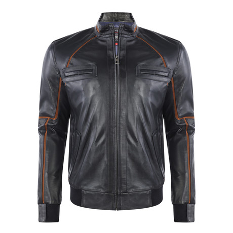 Elden Leather Jacket // Navy (XS)