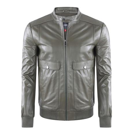 Peak Leather Jacket // Khaki (XS)