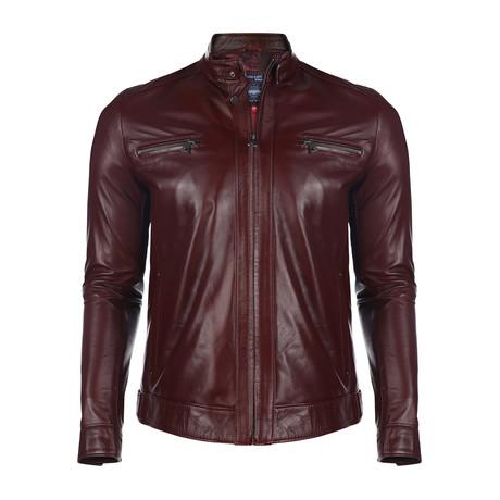Stuart Leather Jacket // Damson (XS)