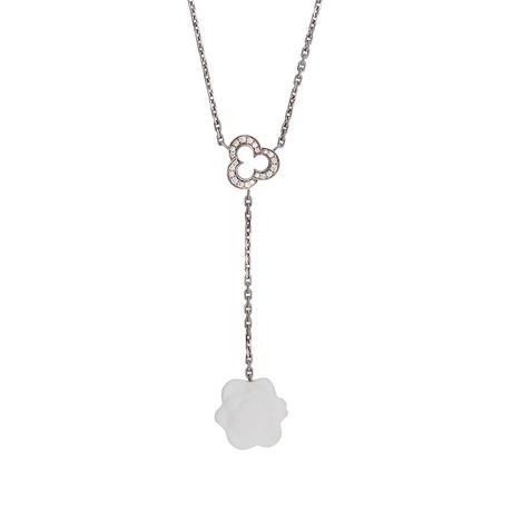 Chanel 18k White Gold Camelia Agate + Diamond Necklace // Pre-Owned